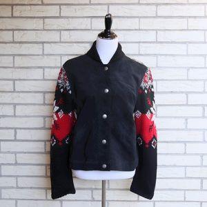 Southwest Sweater Jacket Leather Fairisle Medium
